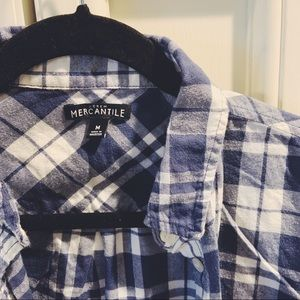 Blue checkered long sleeve button down